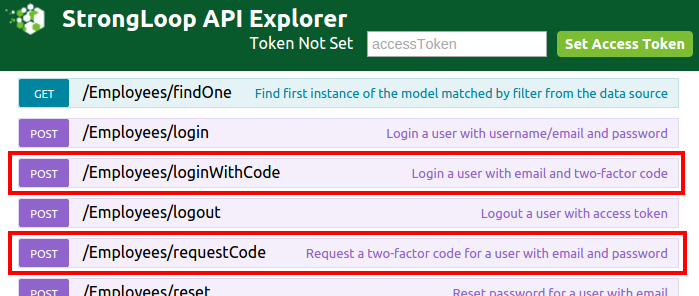 LoopBack explorer showing new routes