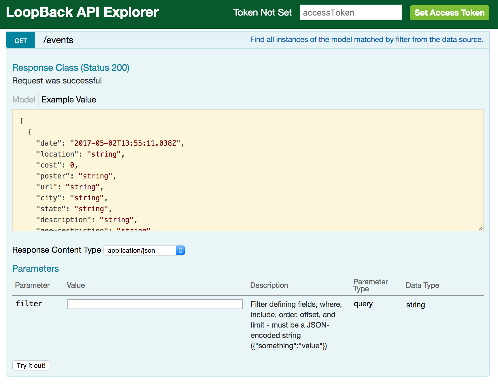 LoopBack API Explorer - GET request