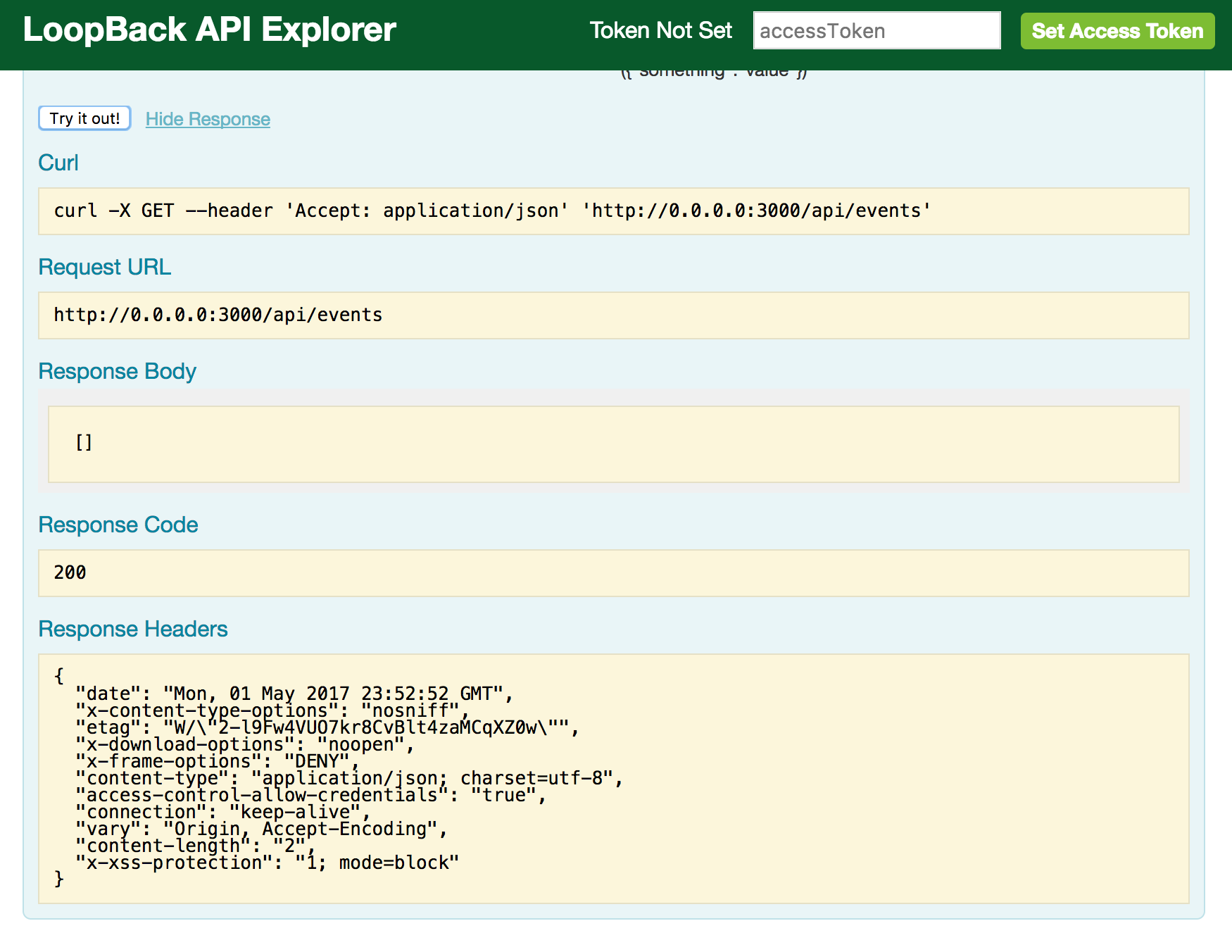 LoopBack API Explorer - GET request response