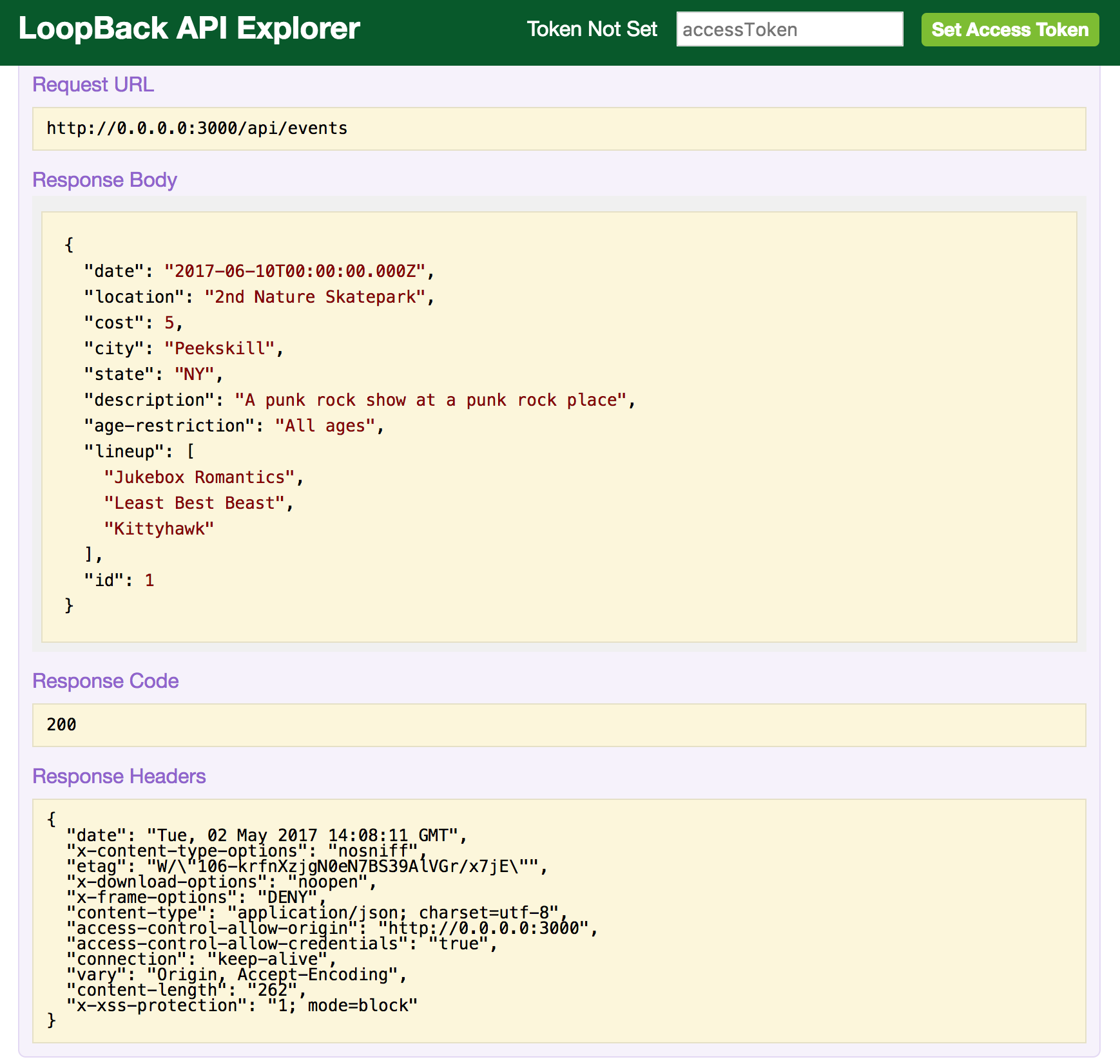 LoopBack API Explorer - POST method response