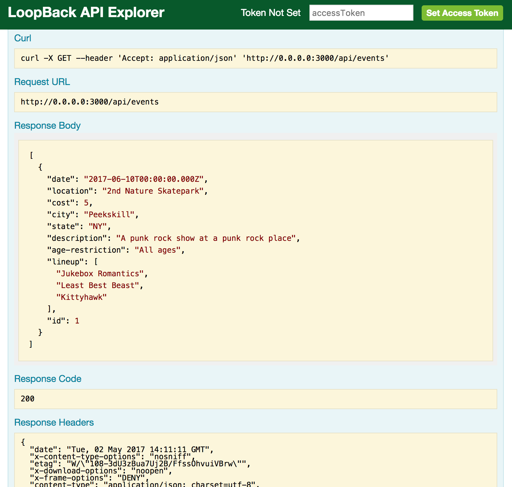 LoopBack API Explorer - GET method with data