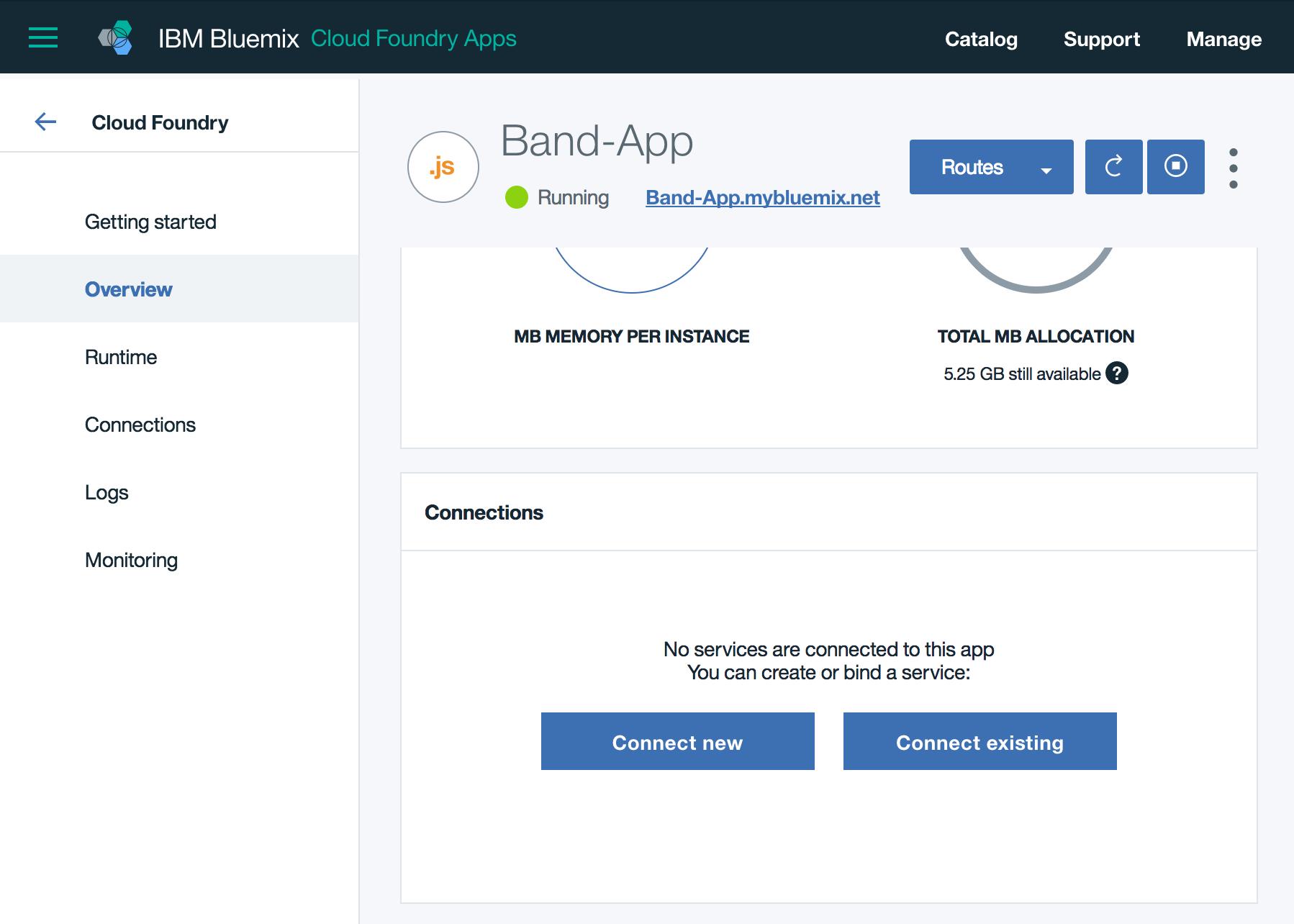Bluemix - App dashboard