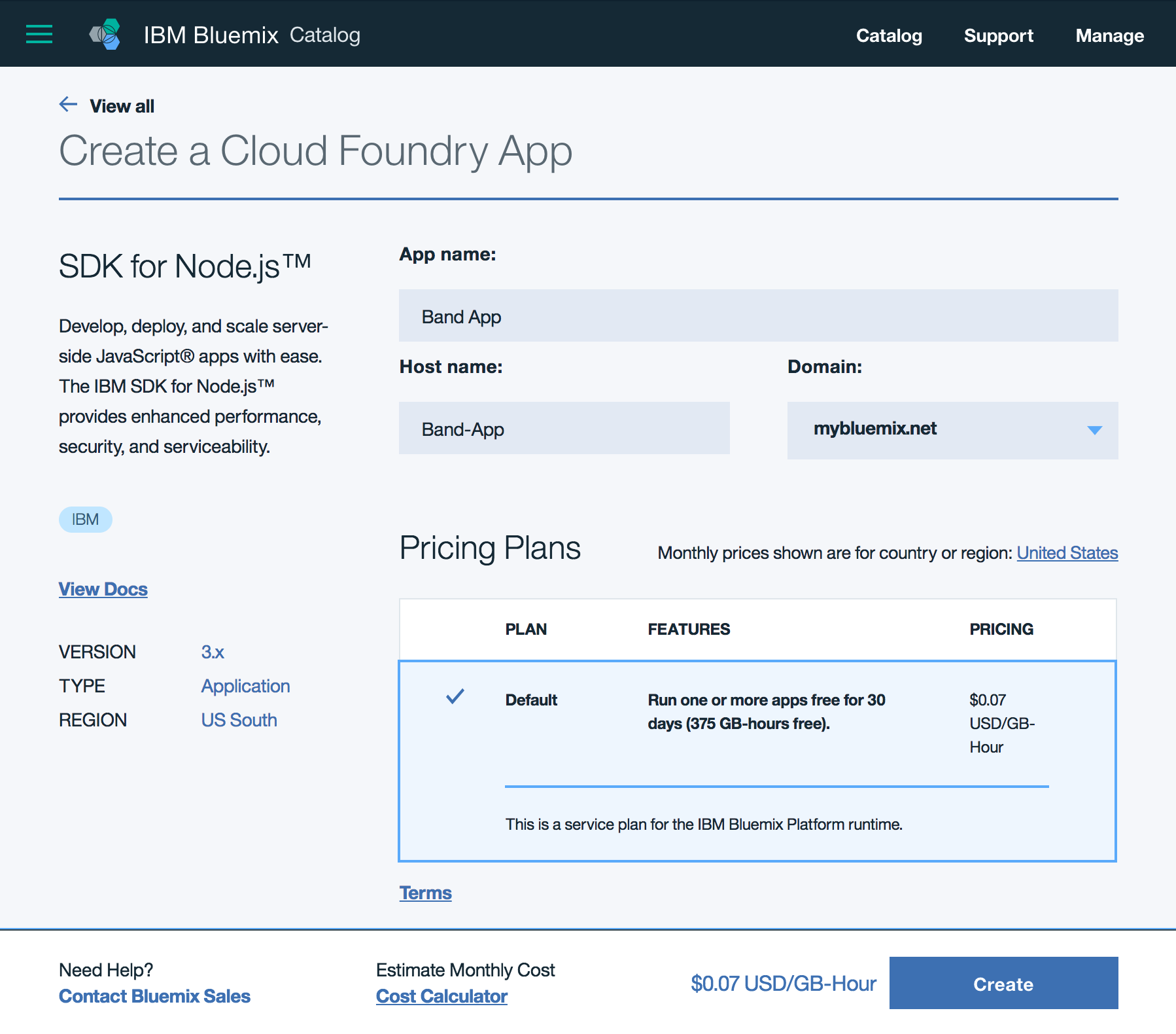 Bluemix - Create Node.js app