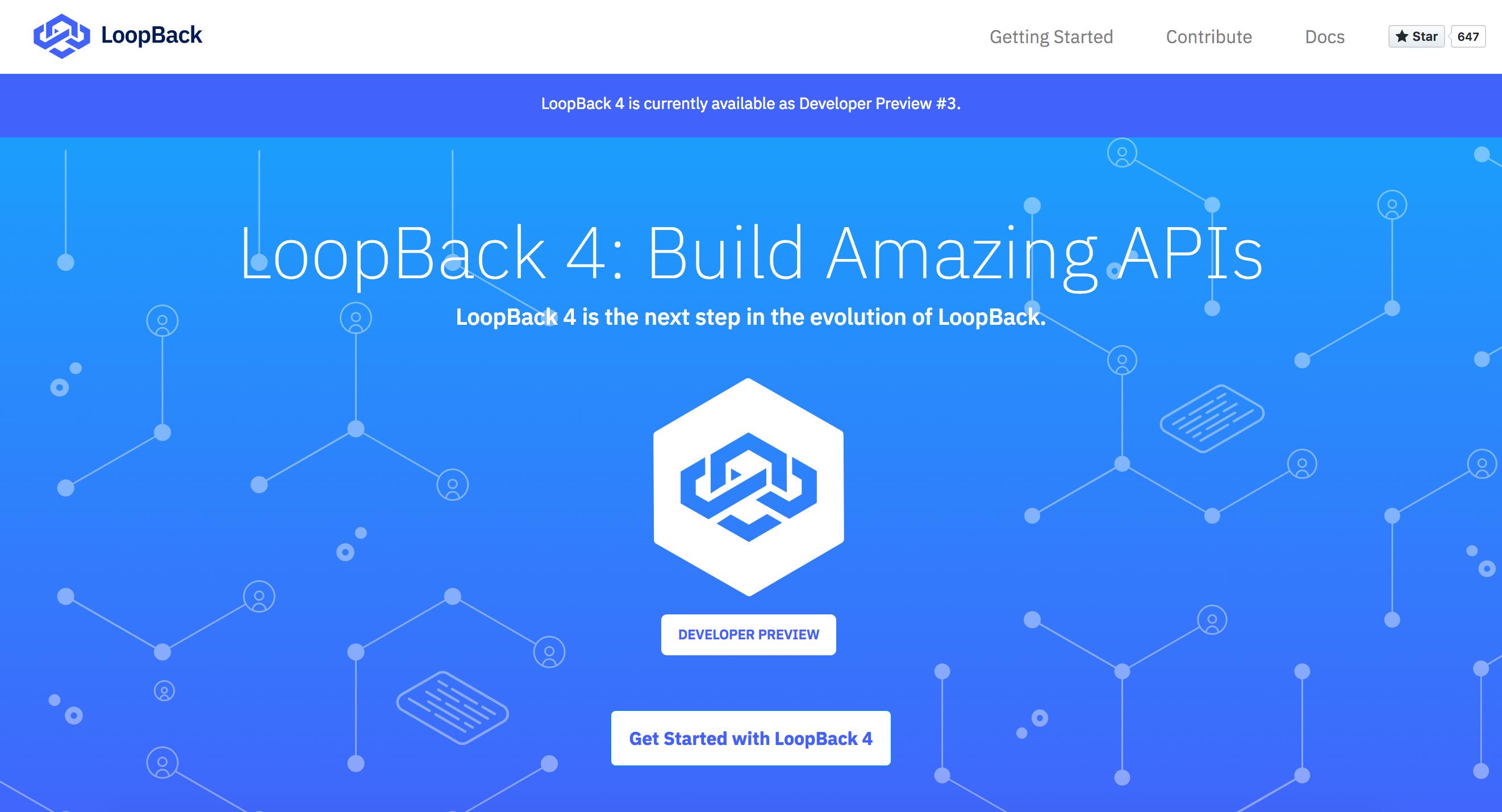 Screen shot of LoopBack 4 website